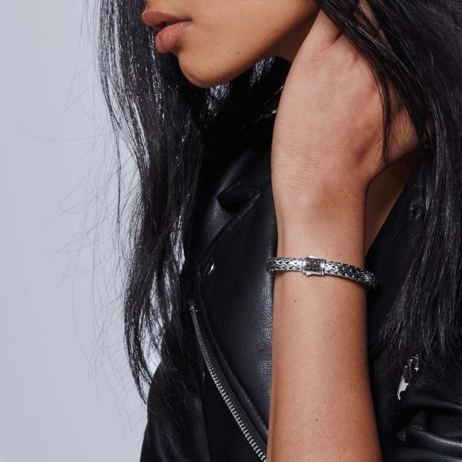 Reversible 7.5MM Bracelet in Silver with Black Sapphire - Medium 2