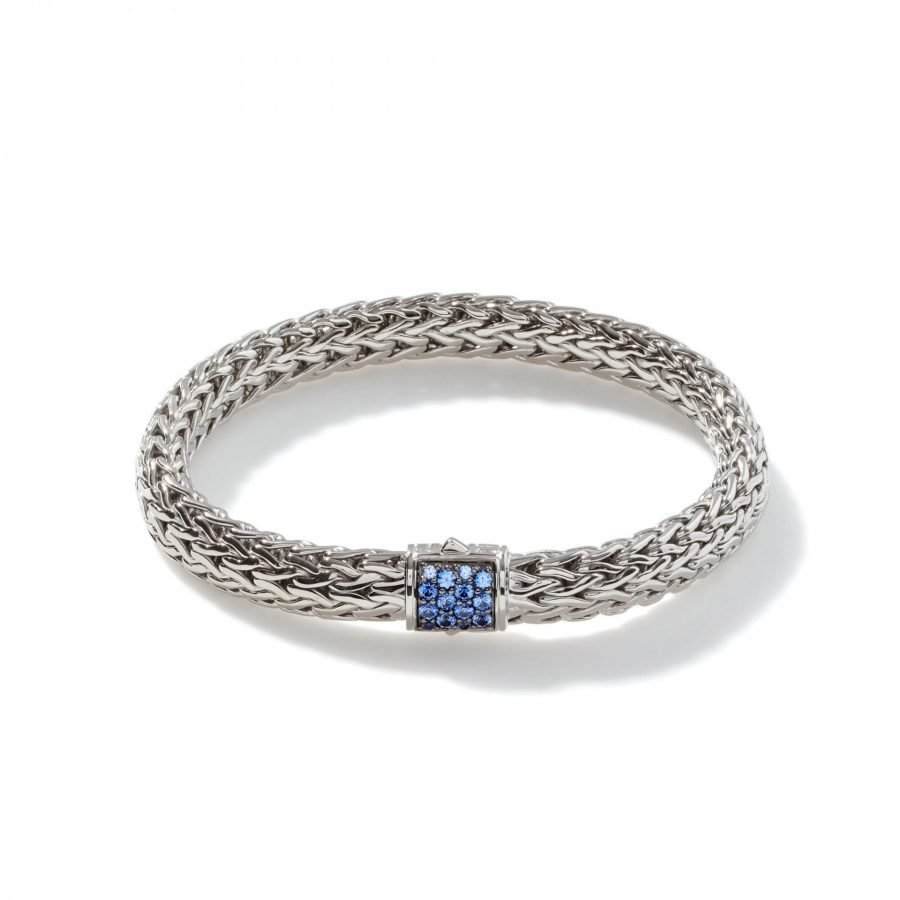 Classic Chain 7.5MM Bracelet in Silver with Blue Sapphire - Medium 2