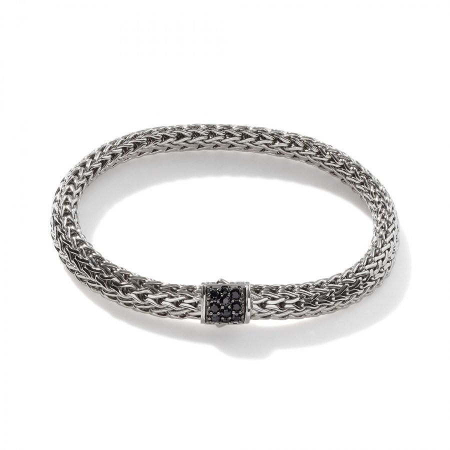 Classic Chain 6.5MM Bracelet in Silver with Treated Black Sapphire - Large 2