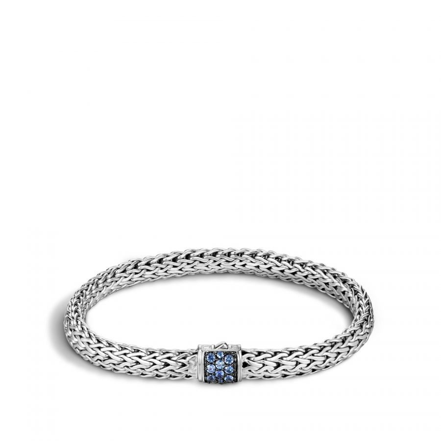Classic Chain 6.5MM Bracelet in Silver with Blue Sapphire - Large 2