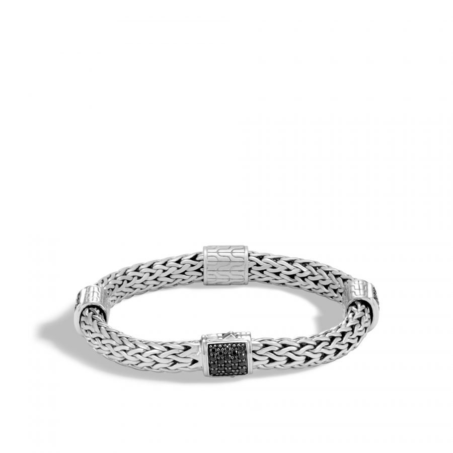 Classic Chain 7.5MM Bracelet in Silver with Treated Black Sapphire 2