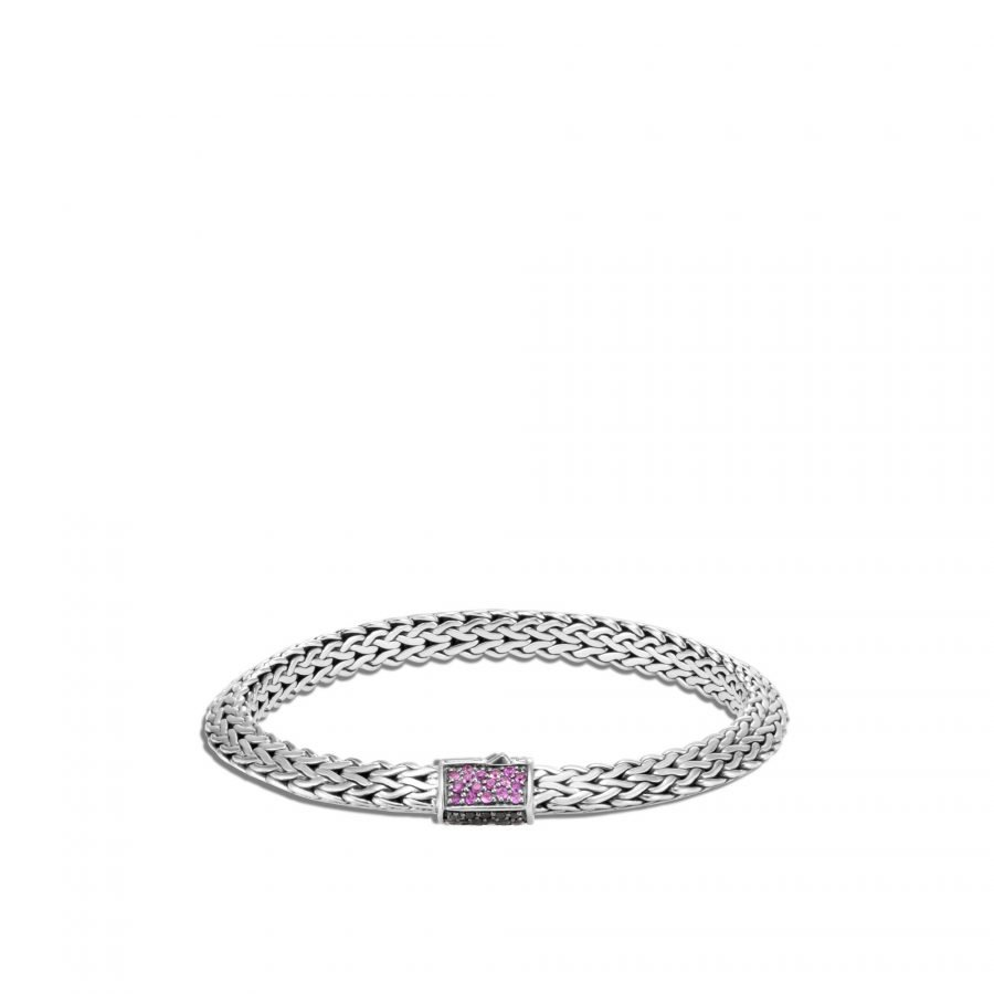 Tiga Classic Chain 6.5MM Bracelet in Silver with Treated Black Sapphire, Black Spinel and Pink Sapphire - Medium 2