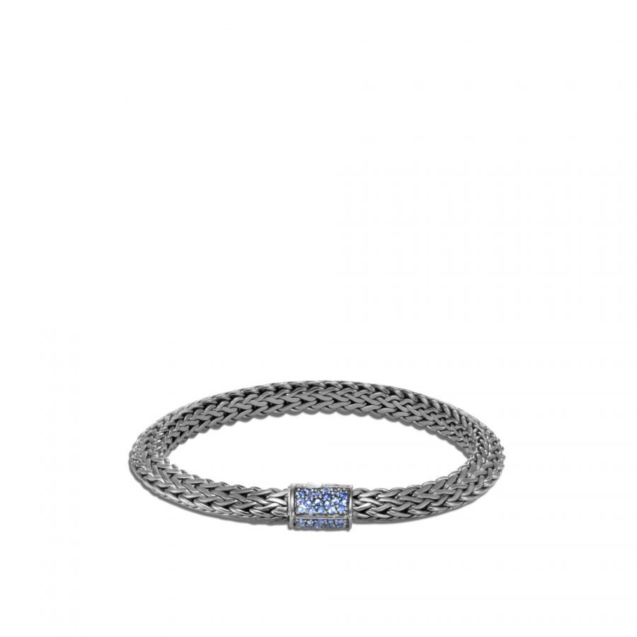 Tiga Classic Chain 6.5MM Bracelet in Blackened Silver with Blue Sapphire 2