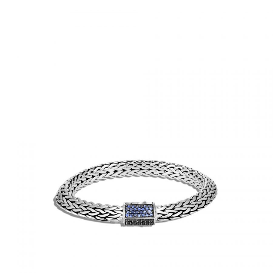 Tiga Classic Chain 8MM Bracelet in Silver with Treated Black Sapphire, Black Spinel & Blue Sapphire - Medium 2