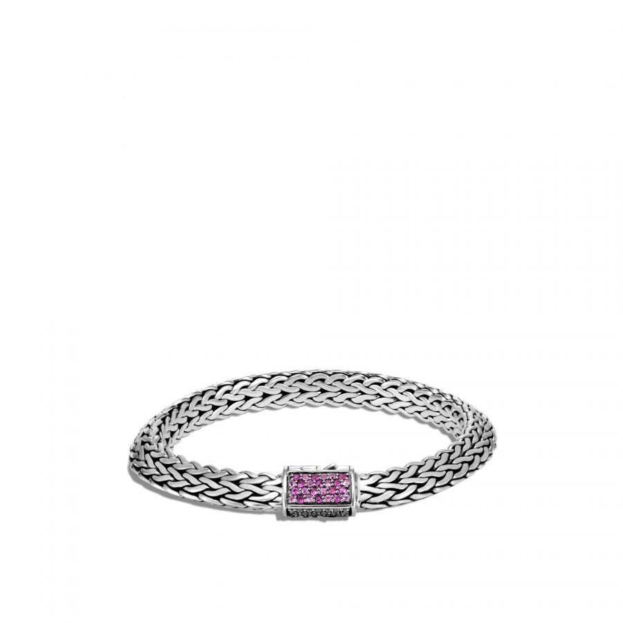 Tiga Classic Chain 8MM Bracelet in Silver with Treated Black Sapphire, Black Spinel & Pink Sapphire - Medium 2