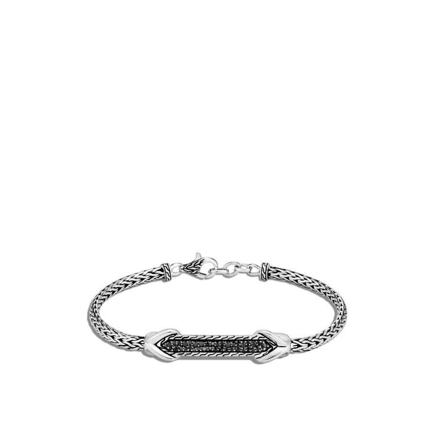Asli Classic Chain Link ID Bracelet in Silver with Black Spinel 2