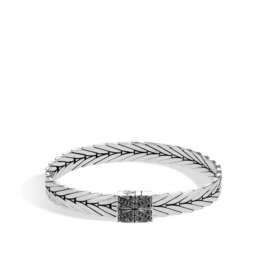 Modern Chain 8MM Bracelet in Silver with Black Spinel - Large 2