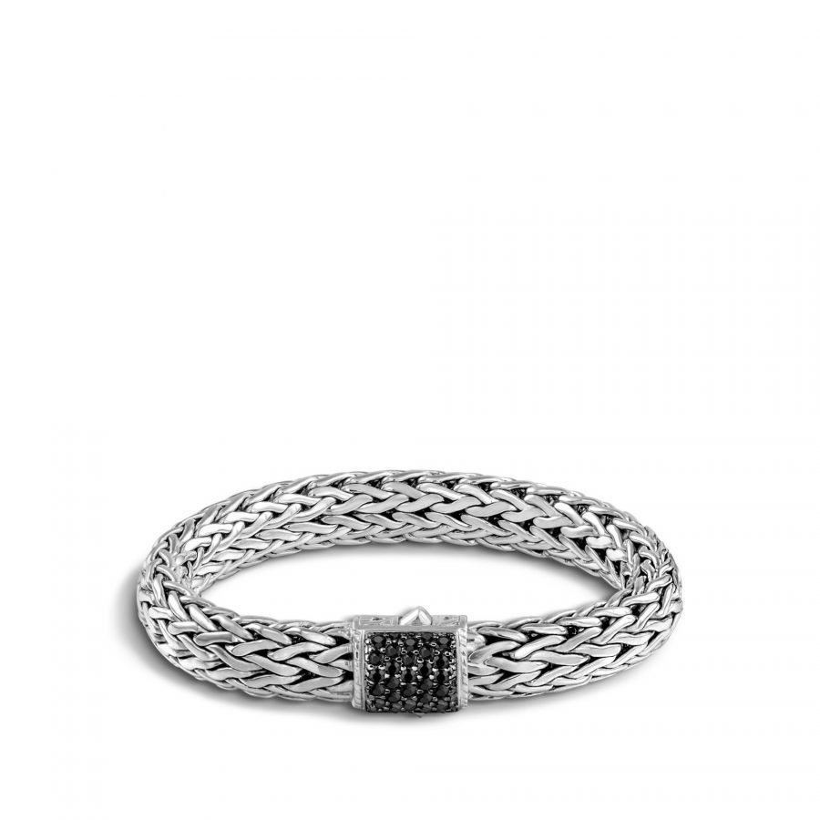 Classic Chain 10.5MM Bracelet in Silver with Treated Black Sapphire 2