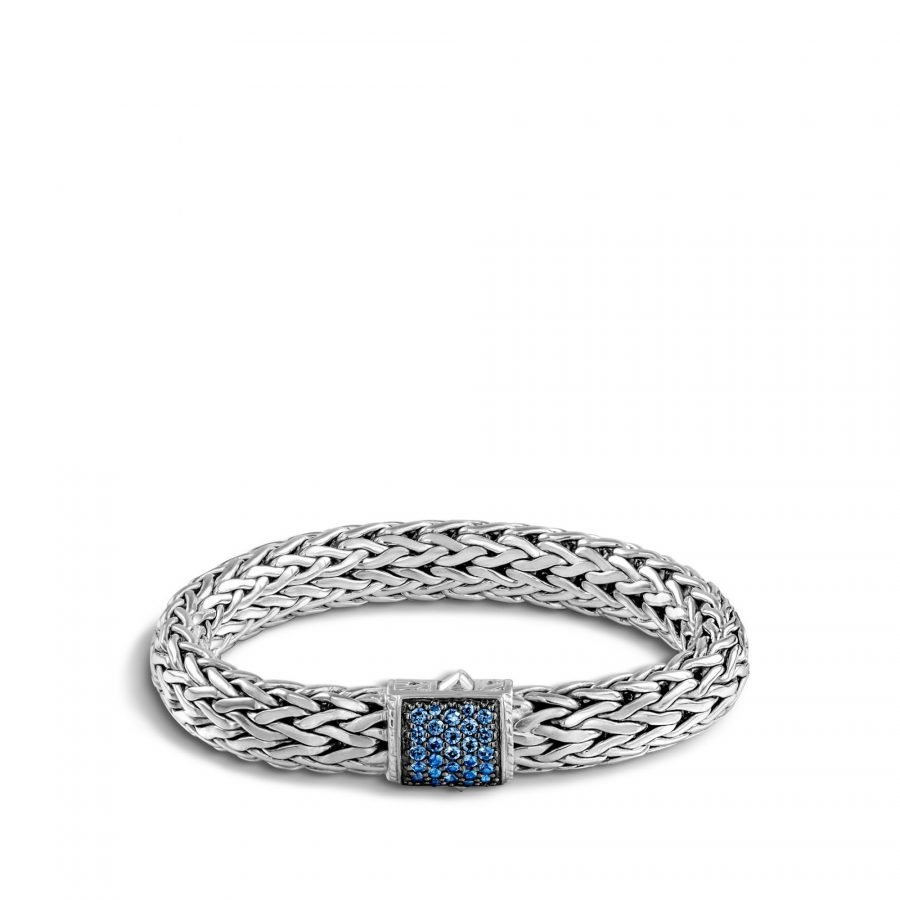 Classic Chain 10.5MM Bracelet in Silver with Blue Sapphire - Medium 2