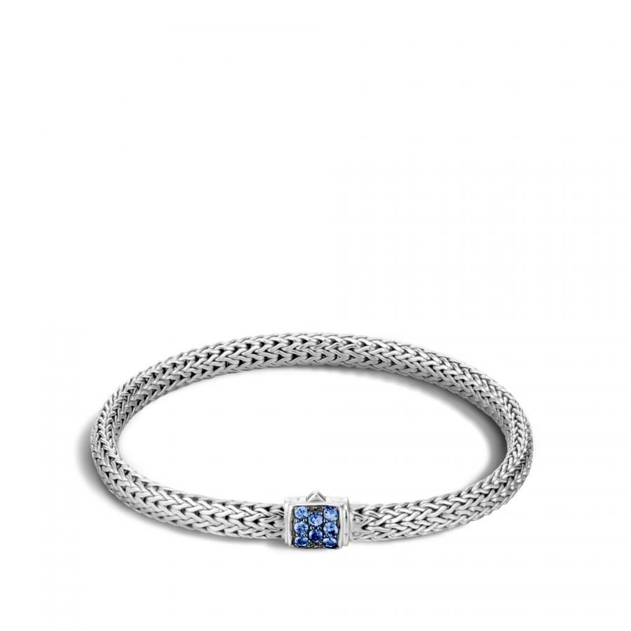 Classic Chain 5MM Bracelet in Silver with Blue Sapphire - Large 2