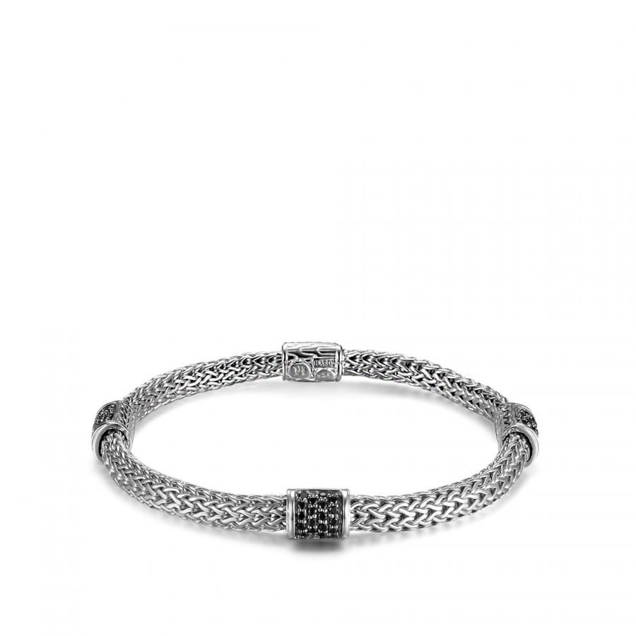Classic Chain 5MM Bracelet in Silver with Treated Black Sapphire - Medium 2
