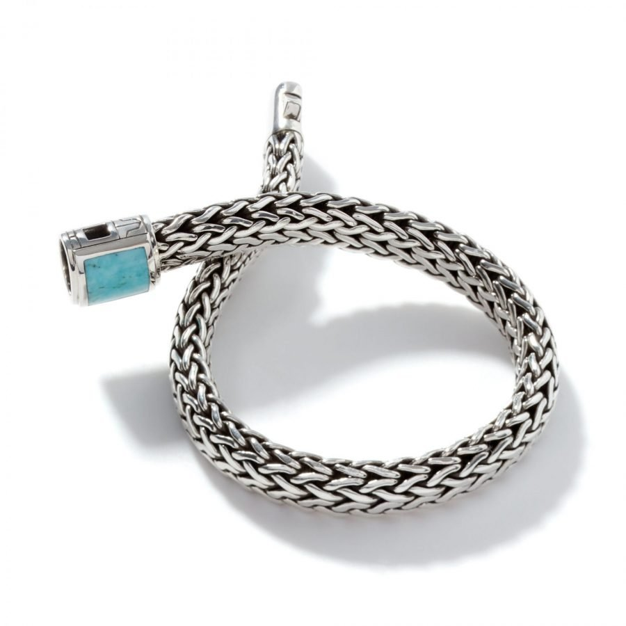 Classic Chain 7.5MM Bracelet in Silver with Natural Arizona Turquoise - Medium 2