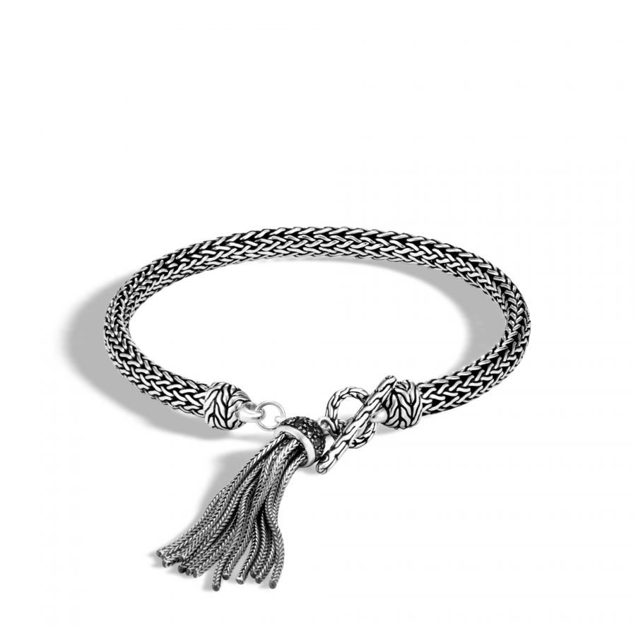 Classic Chain 5MM Tassel Charm Bracelet in Silver with Black Spinel 2