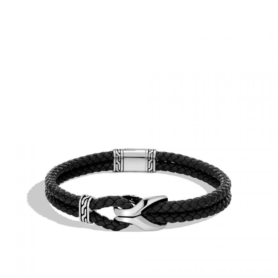 Asli Classic Chain Link Station Bracelet, Silver with Leather 2