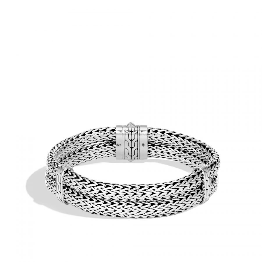 Classic Chain 14MM Double Row Bracelet in Silver - Medium 2