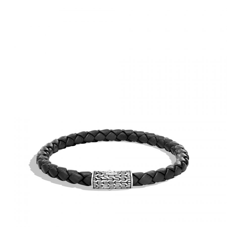 Classic Chain 5.5MM Station Bracelet in Silver and Leather 2