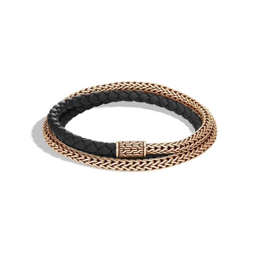 Classic Chain 5MM Triple Wrap Bracelet in Bronze with Leather 2