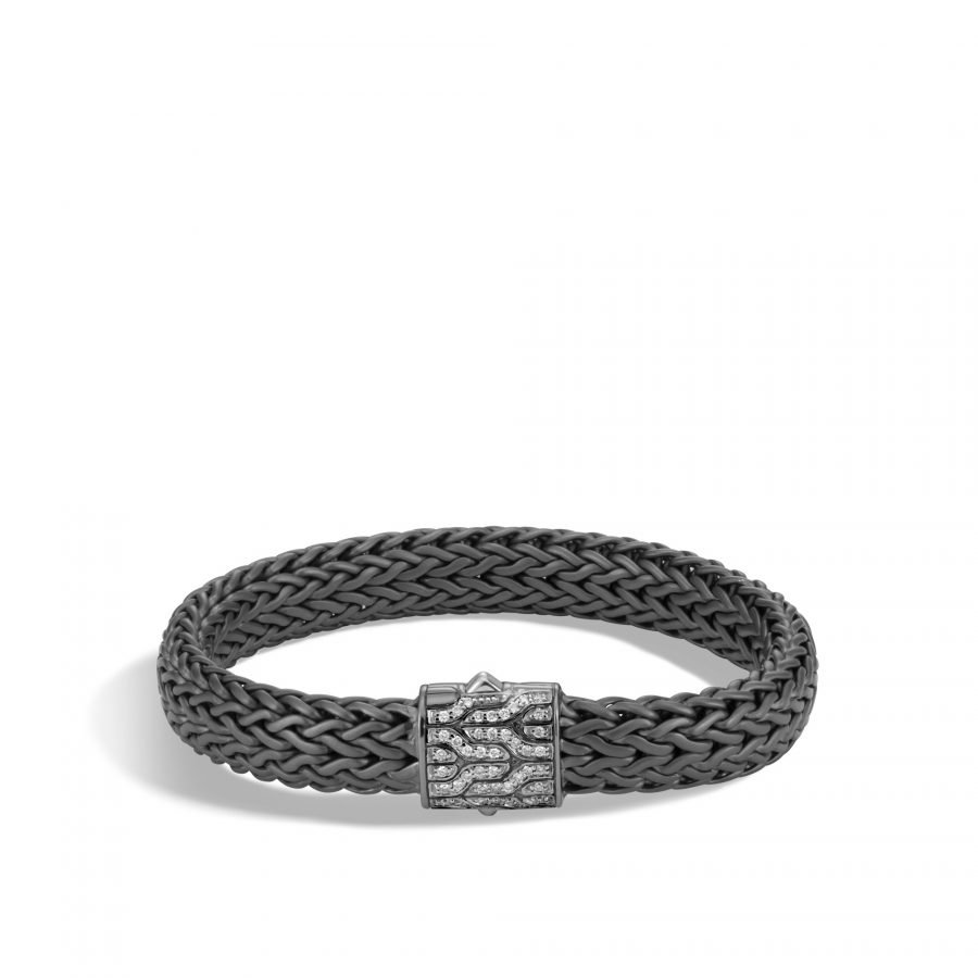 Classic Chain 11MM Bracelet in Blackened Silver with White Diamonds 2