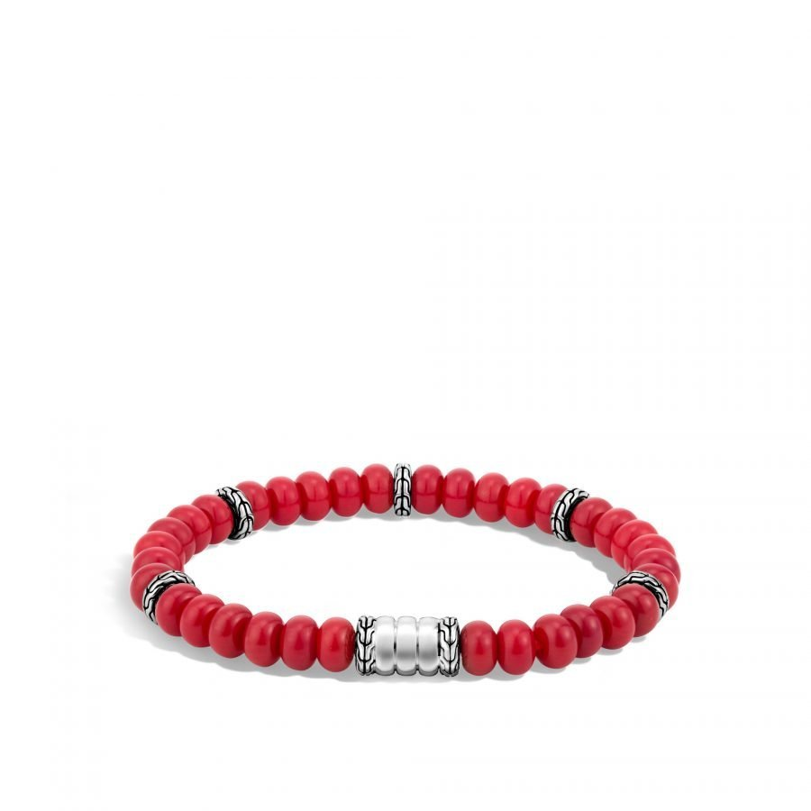 Bedeg Bead Bracelet in Silver with Red Coral 2