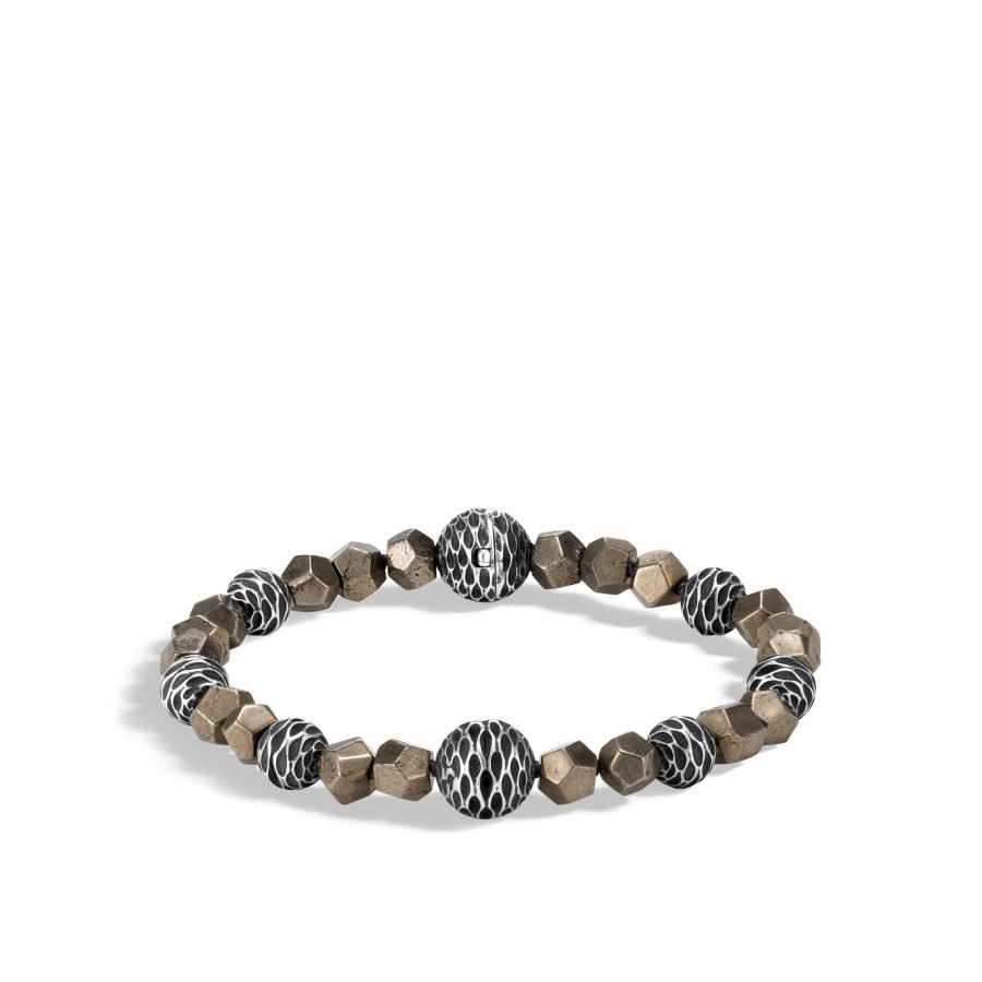 Legends Naga Bead Bracelet in Silver with 6MM Pyrite 2