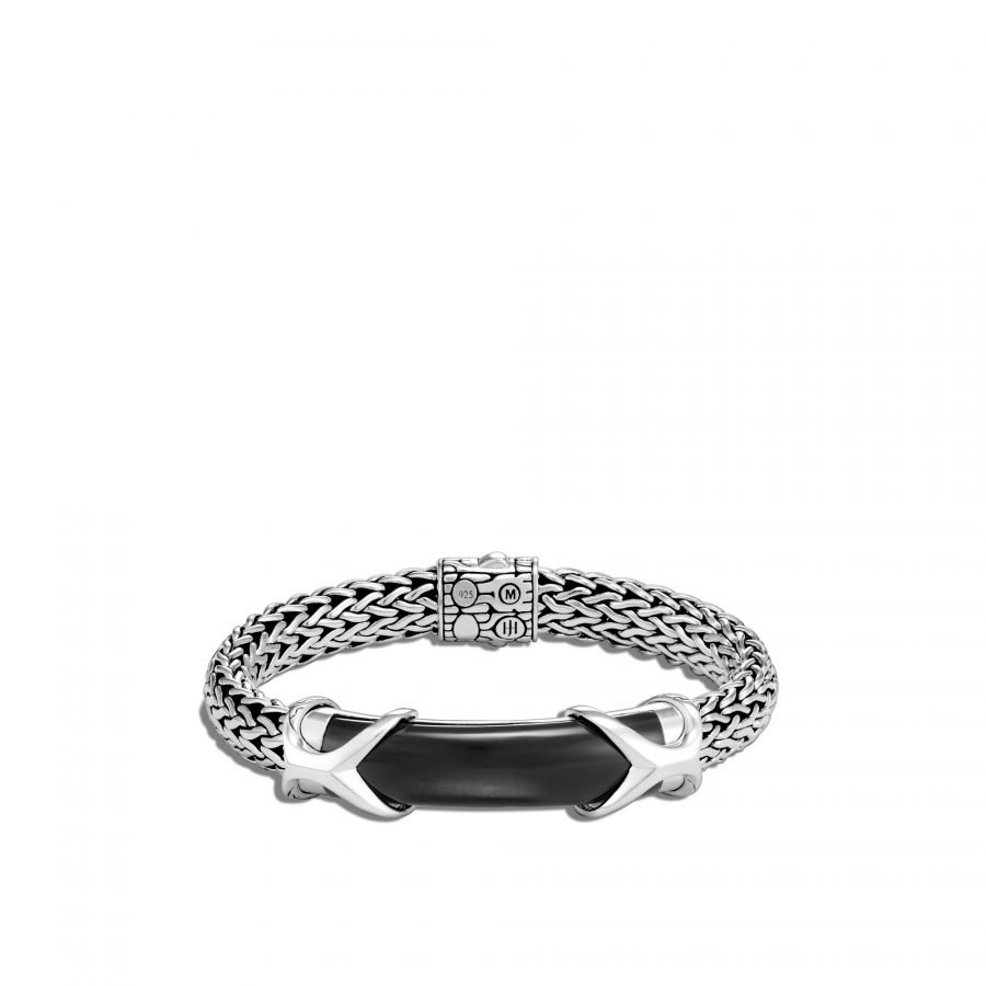 Asli Classic Chain Link 10.5MM Station Bracelet In Silver With Black Onyx 2