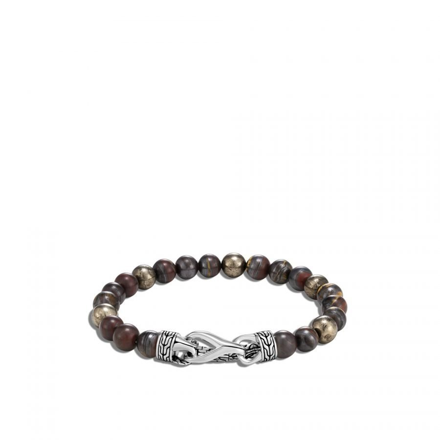 Asli Classic Chain Link Bead Bracelet in Silver, 8MM With Tiger Iron 2