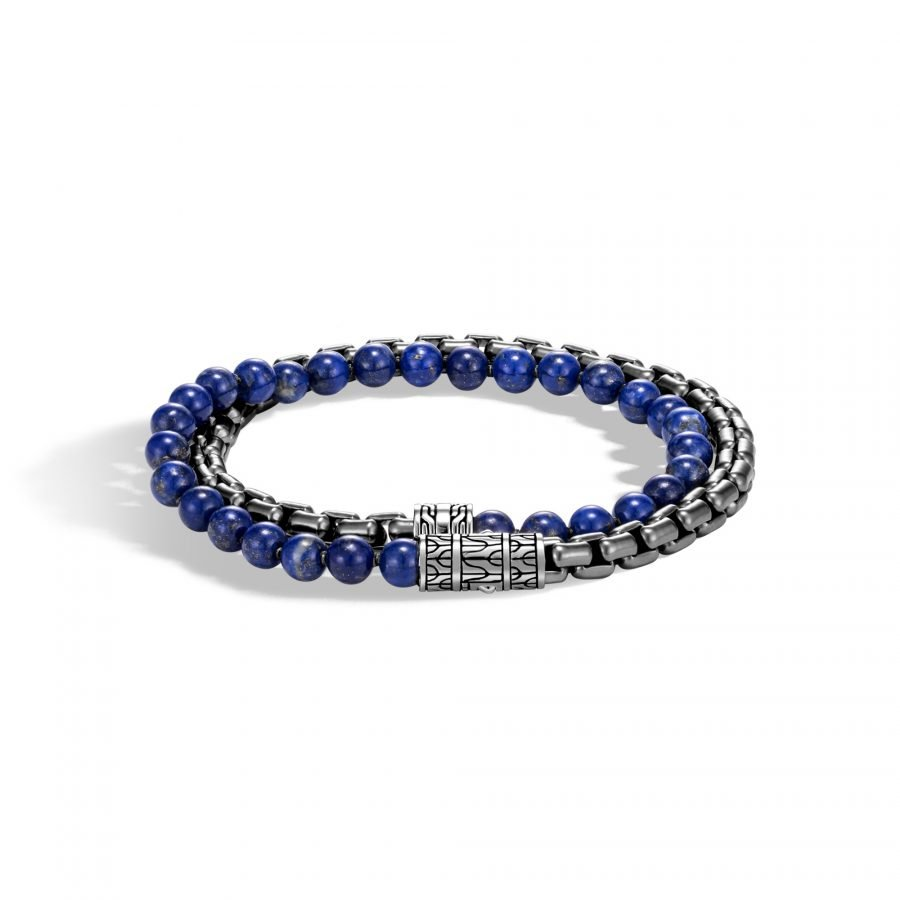 Classic Chain Wrap Bracelet in Blackened Silver with Lapis Lazuli 2