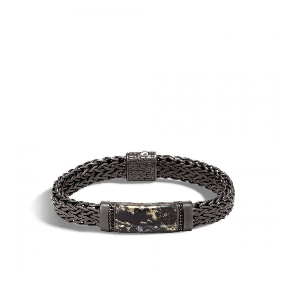 Classic Chain 11MM Station Bracelet in Blackened Silver with Apache Gold - Large 2