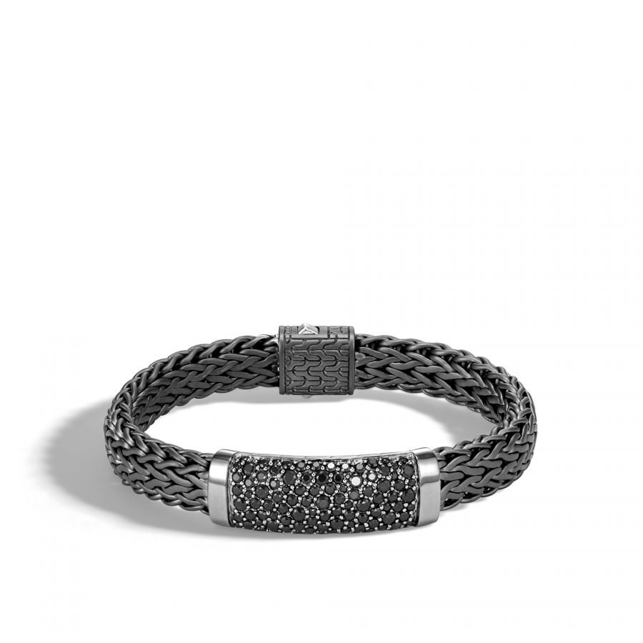 Classic Chain 11MM Station Bracelet in Blacken Silver with Treated Black Sapphire 2
