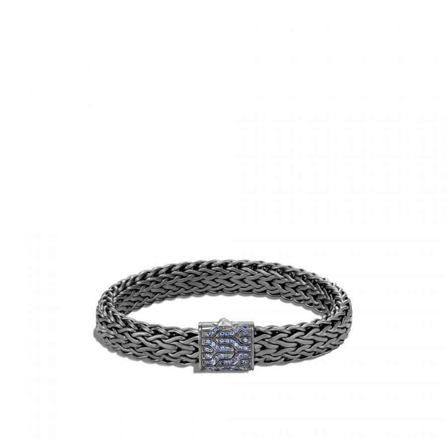 Classic Chain 11MM Bracelet in Blackened Silver with Blue Sapphire 2