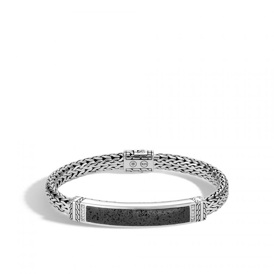 Classic Chain 7.5MM ID Bracelet in Silver with Black Volcanic and White Diamonds 2