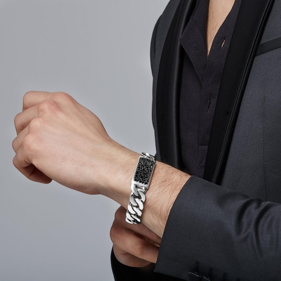 Classic Chain 16.5MM ID Bracelet in Silver with Black Sapphire 2