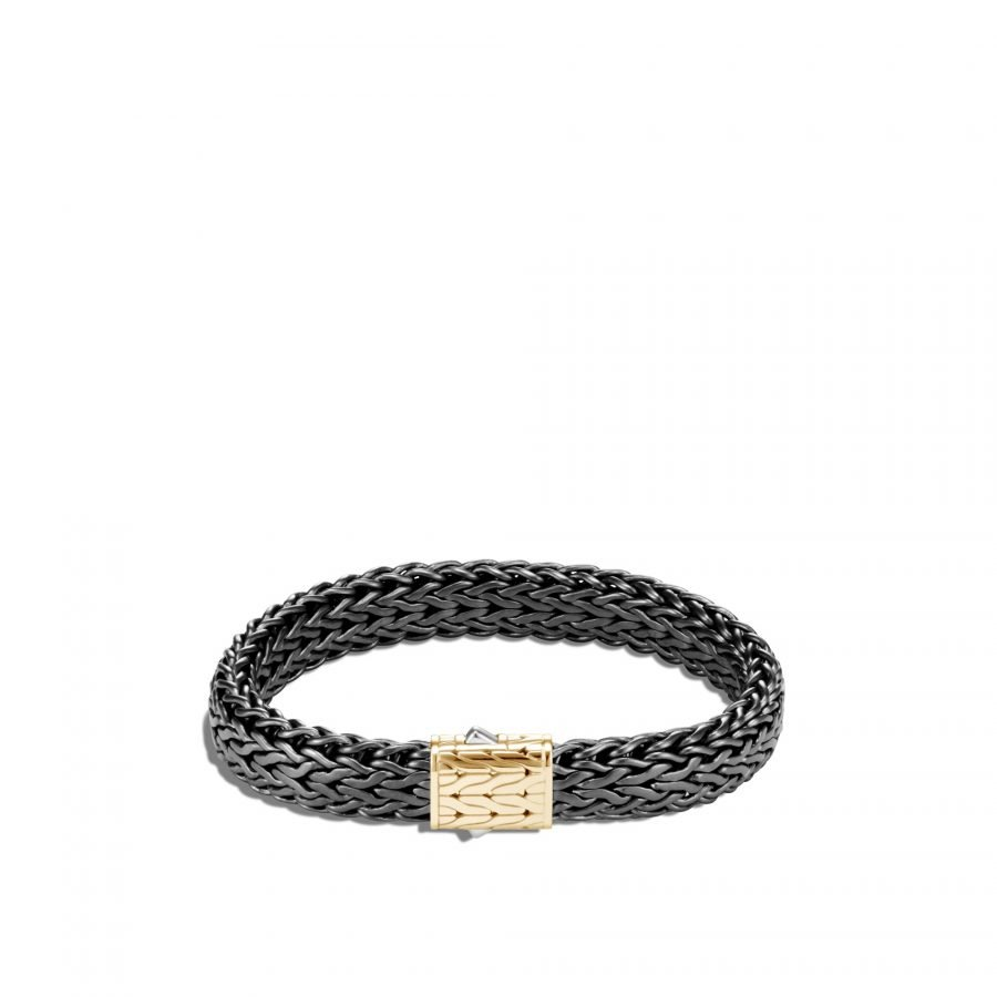 Classic Chain 11MM Bracelet in Blackened Silver and 18K Gold - Medium 2