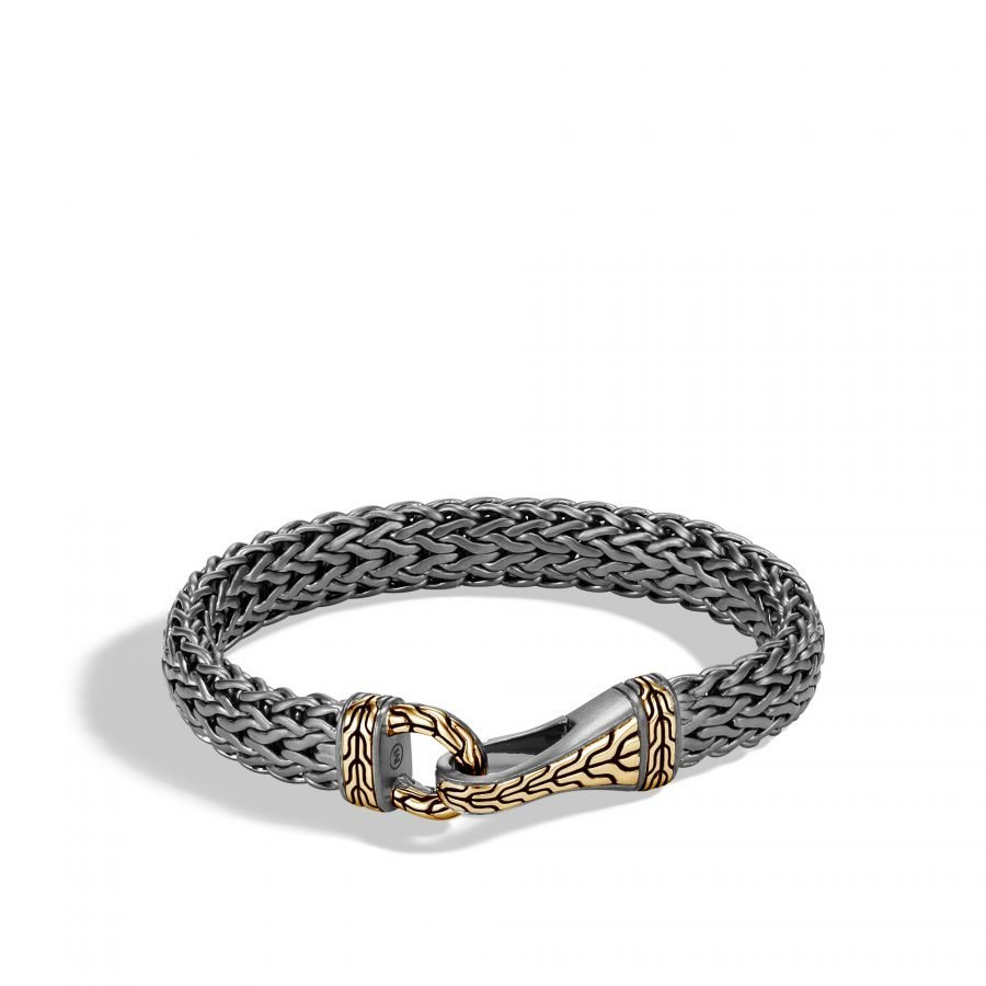 Classic Chain 11MM Hook Bracelet in Blacked Silver and 18K Gold - Medium 2