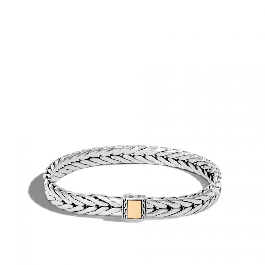 Modern Chain 9MM Bracelet in Silver and 18K Gold - Large 2