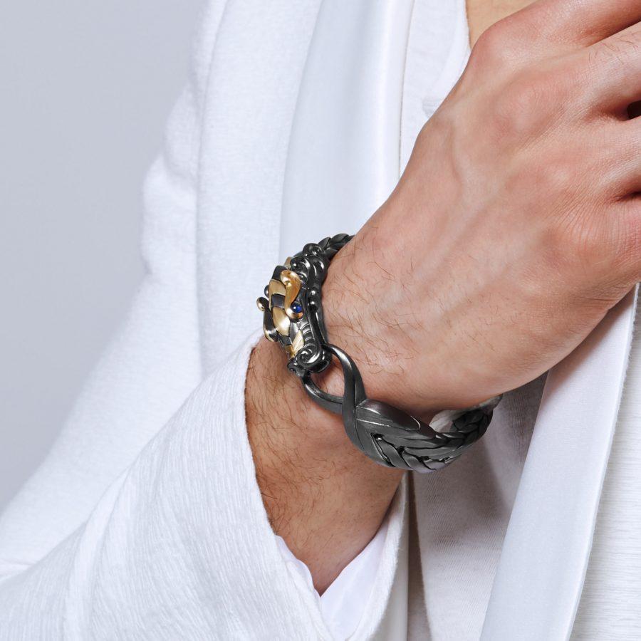 Legends Naga 16MM Station Bracelet in Blackened Silver & 18K Gold with Blue Sapphire 2