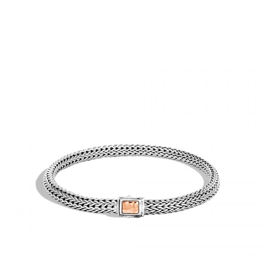 Classic Chain 5MM Hammered Clasp Bracelet, Silver, 18K Rose Gold - Medium 2