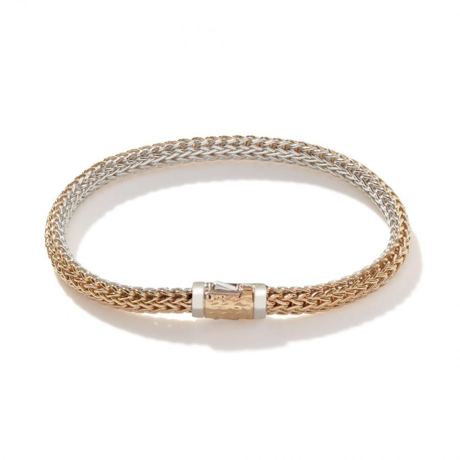 Classic Chain 5MM Reversible Bracelet in Silver with 18K Gold - Large 2