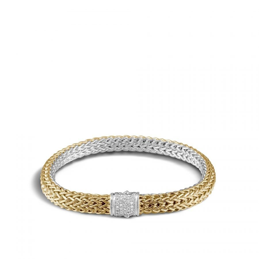 Classic Chain 6.5MM Reversible Bracelet in Silver & 18K with White Diamonds 2