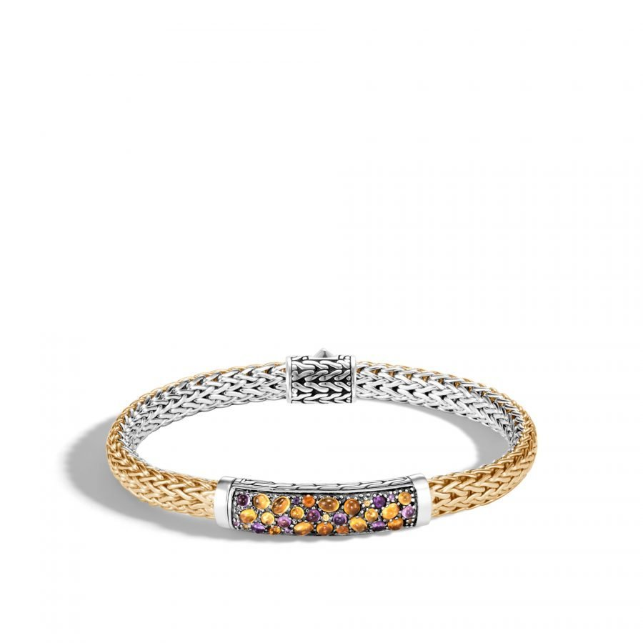 Classic Chain 6.5MM Station Bracelet in Silver & 18K Gold with Amethyst 2