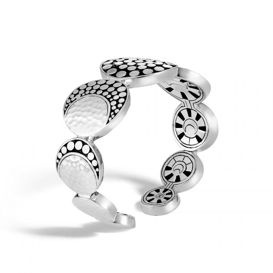 Dot Moon Phase Flex Cuff in Hammered Silver 2