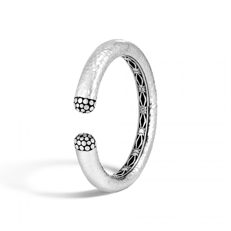 Dot 12MM Kick Cuff in Hammered Silver 2