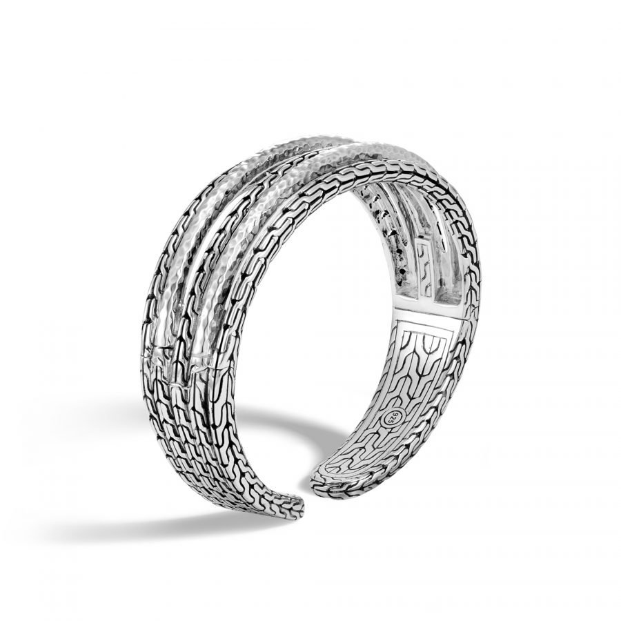 Classic Chain 19MM Cuff in Hammered Silver 2