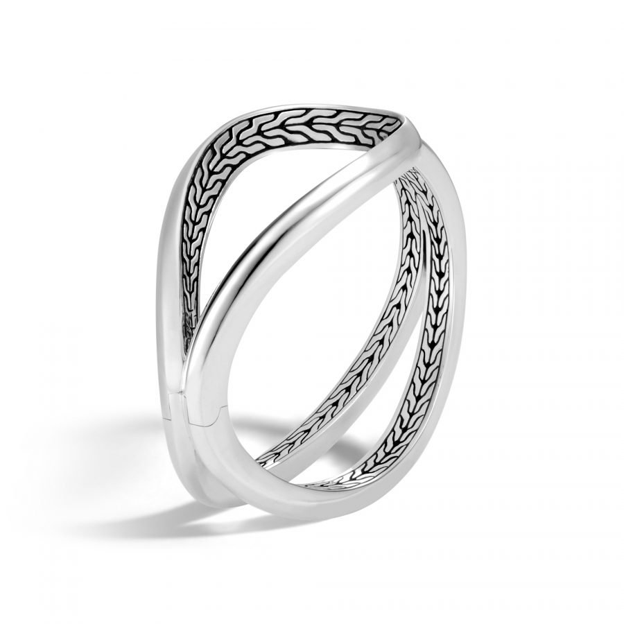 Asli Classic Chain Link Hinged Cuff in Silver - Medium 2