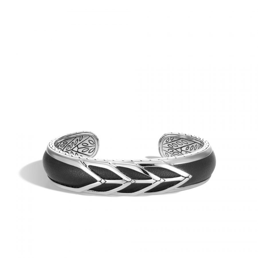 Modern Chain 14MM Cuff in Silver with Leather - Medium 2