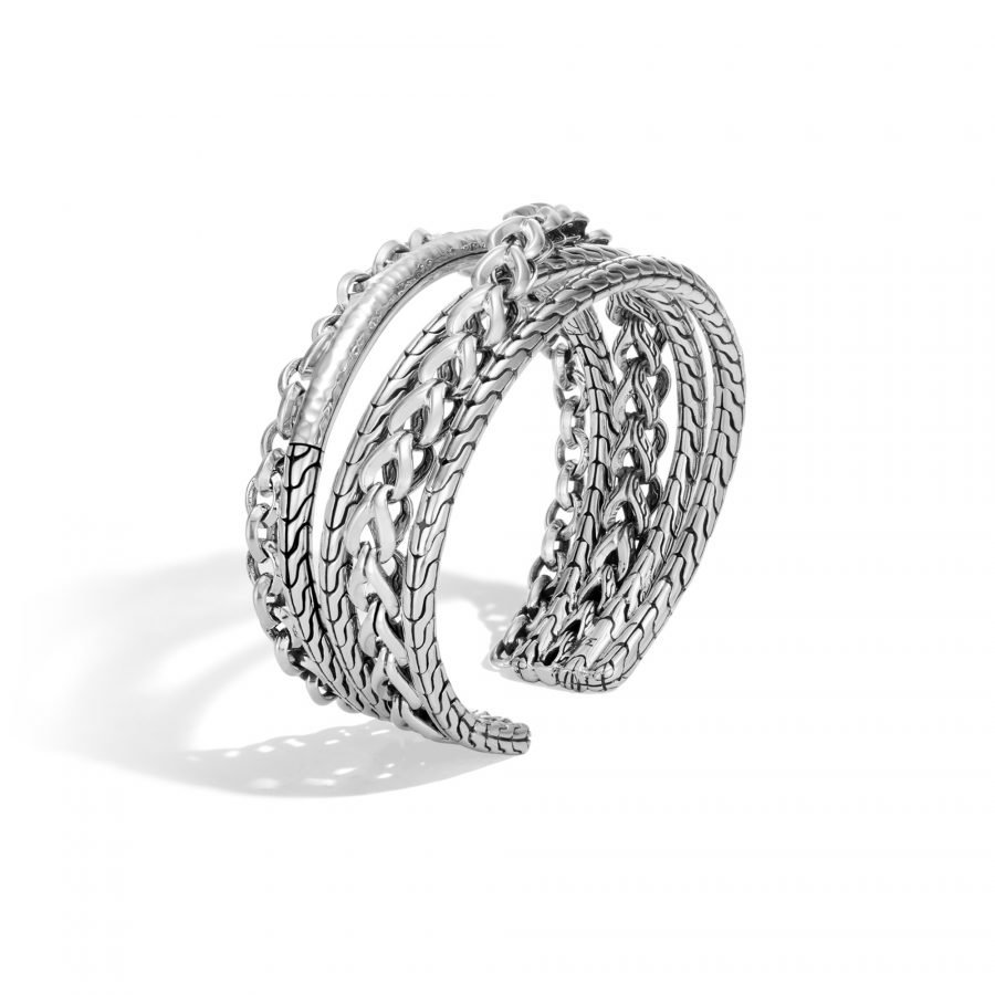 Asli Classic Chain Link Flex Cuff in Hammered Silver - Small to Medium 2