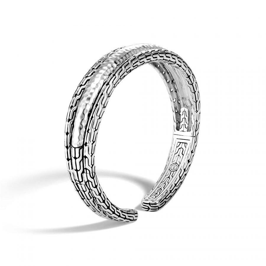 Classic Chain 15MM Cuff in Hammered Silver 2