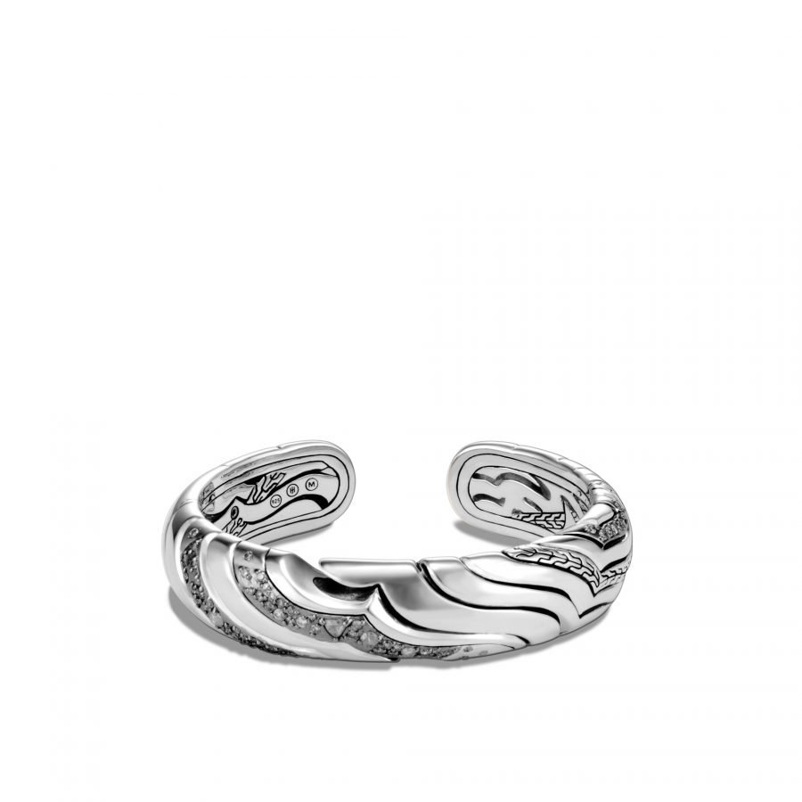 Lahar 15MM Kick Cuff in Silver with White Diamonds 2