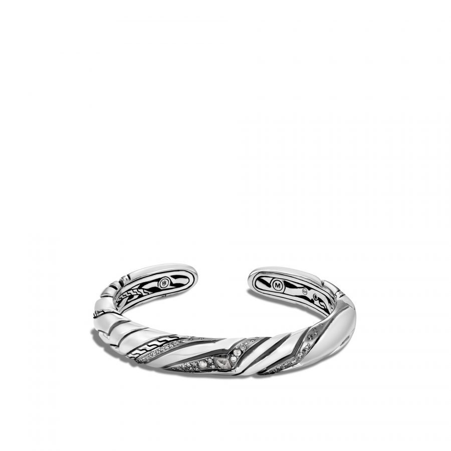 Lahar 9MM Kick Cuff in Silver with White Diamonds 2