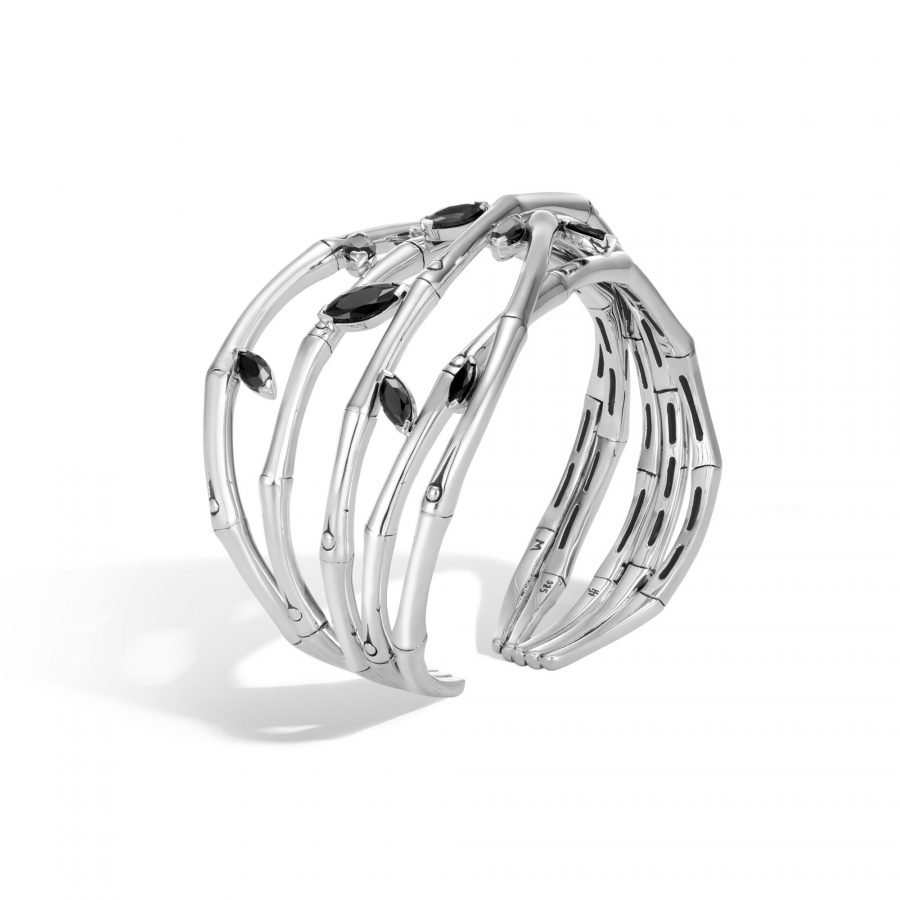 Bamboo Flex Cuff in Silver with Black Spinel 2